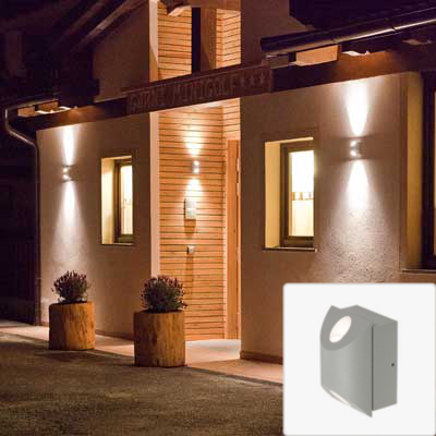 Jago led outdoor up down wall light 6w 3k 230vip54 globelink for Applique exterieur up down